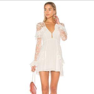 For Love and Lemons Rosebud Embroidery Mini Dress